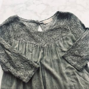 Altar'd State • Lace Detailed Ruffle Hem Green Top